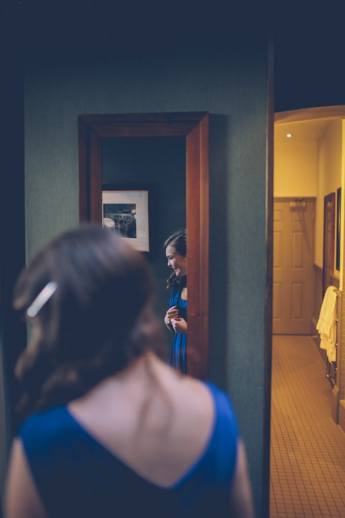 Bridesmaid in mirror