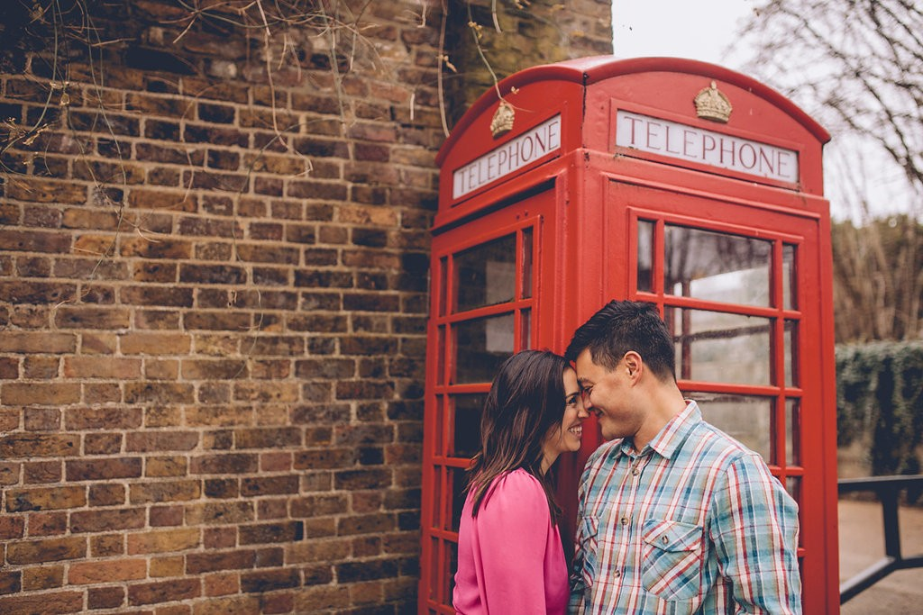 Engagement shoot camden phone box