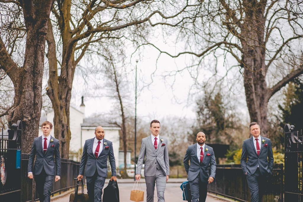 Groom and friends walking to ceremony