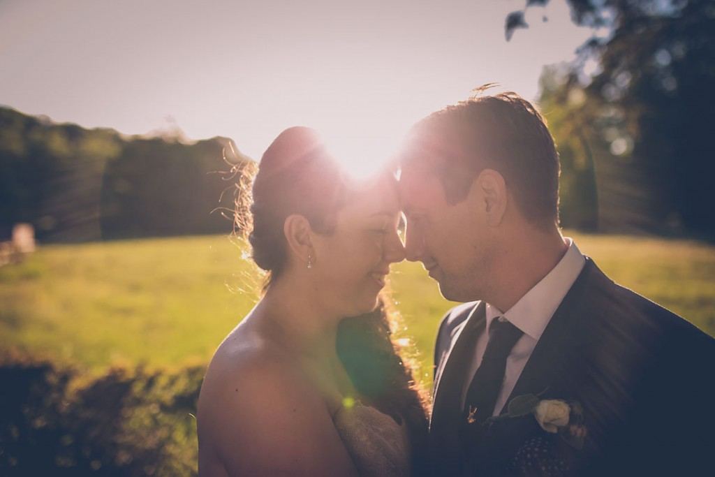 Couple portrait with sunset