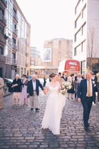 Walking to reception venue