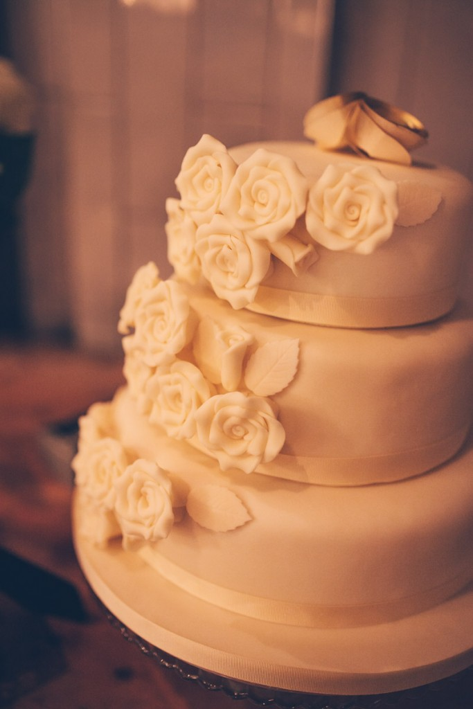 Wedding cake with icing roses