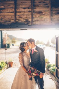 Wedding portrait in barn