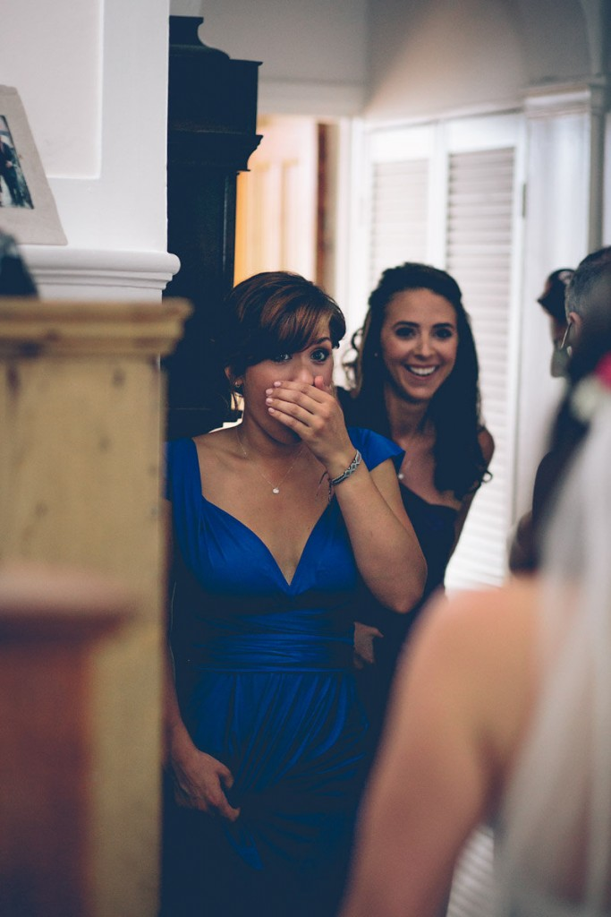 Bridemaid seeing bride for first time