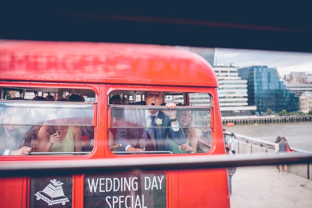 Wedding guests on routemaster bus