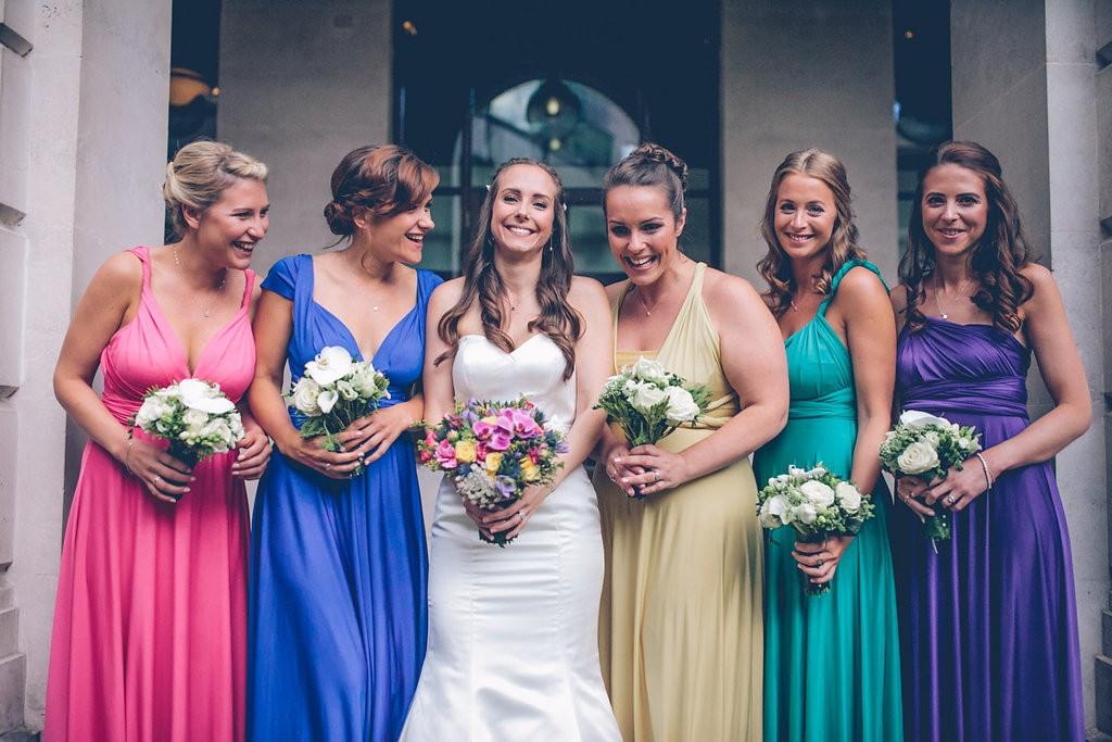 Bride with bridesmaids portrait