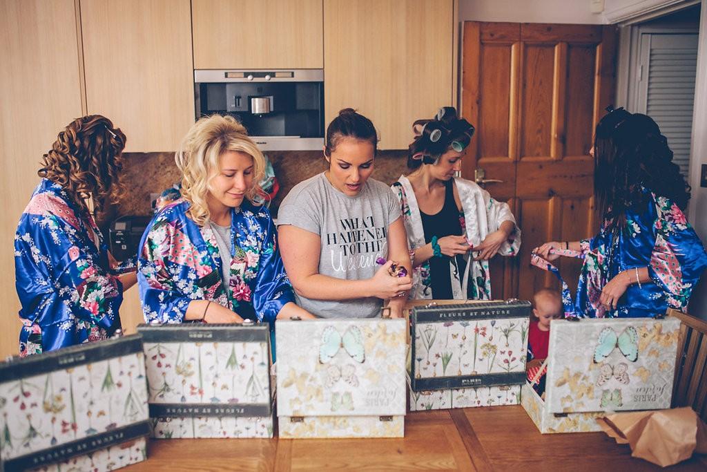 Bridesmaids receiving gifts