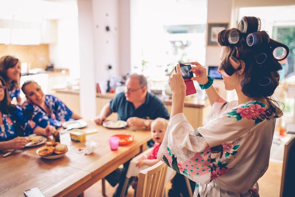 Family around breakfast table