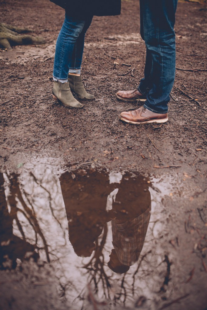 Engagement shoot hampstead heath puddle