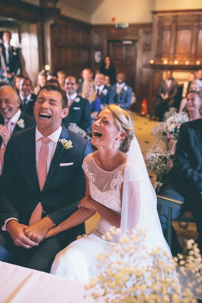 Wedding ceremony laughing