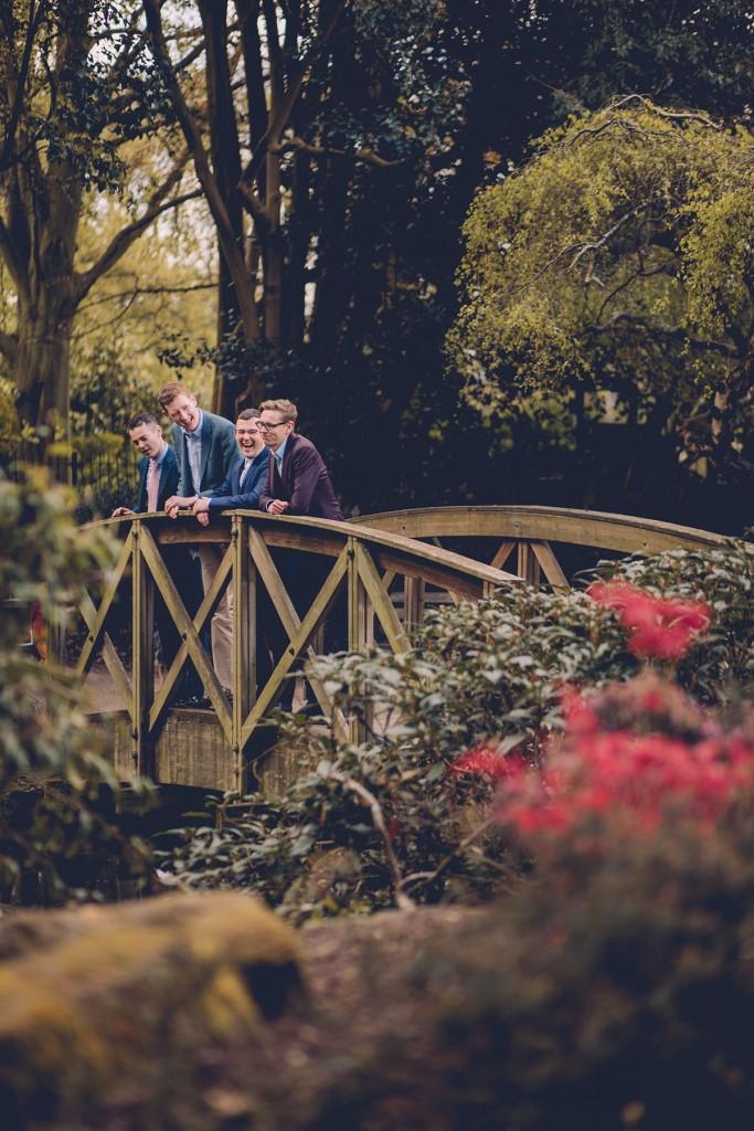Couple and witnesses on bridge