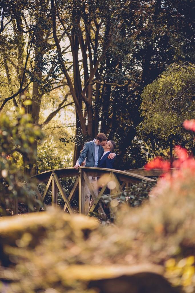 Couple portrait on bridge