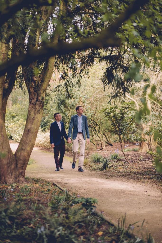 Couple portrait walking