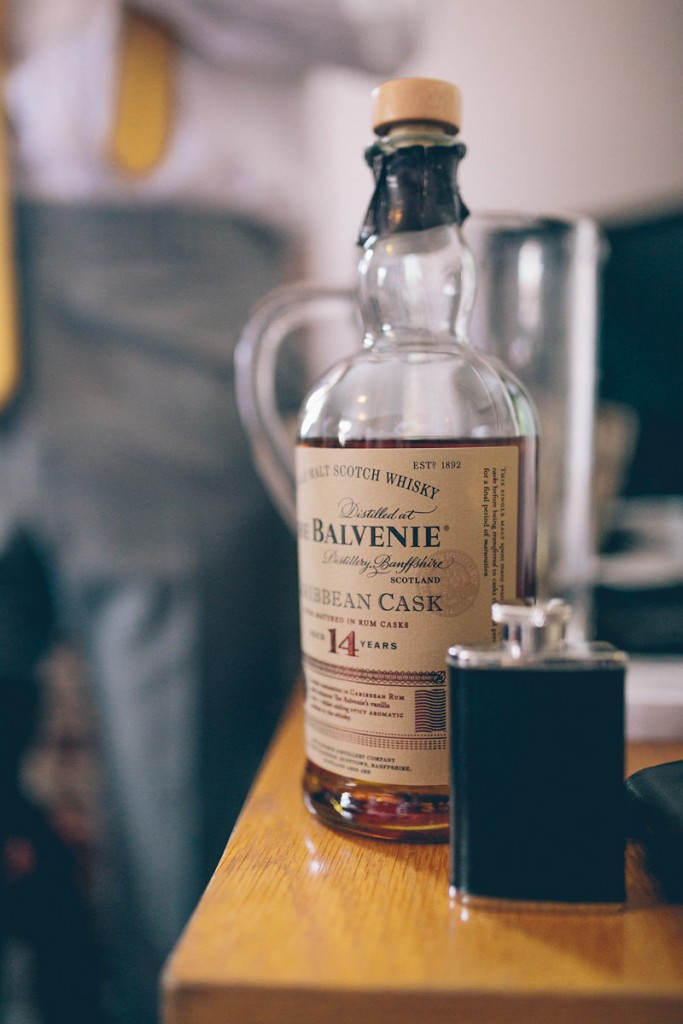 Balvenie bottle and hip flask
