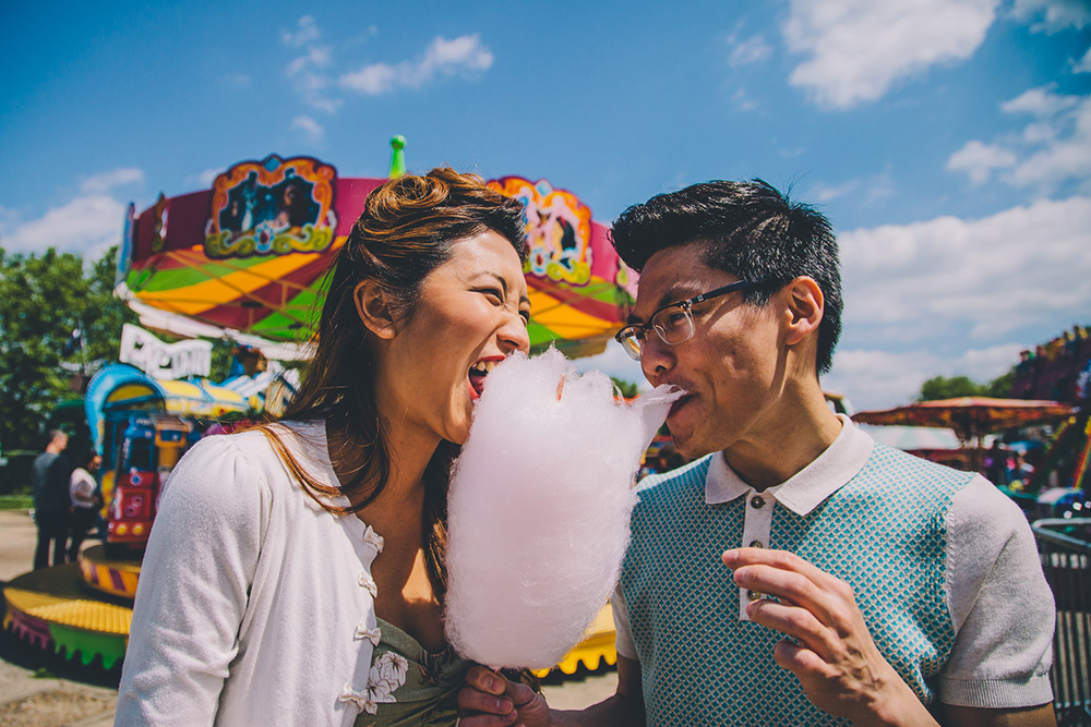 engagement shoot couple with candy floss