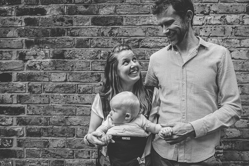 engagement shoot couple with baby