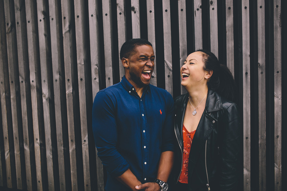 engagement shoot couple laughing