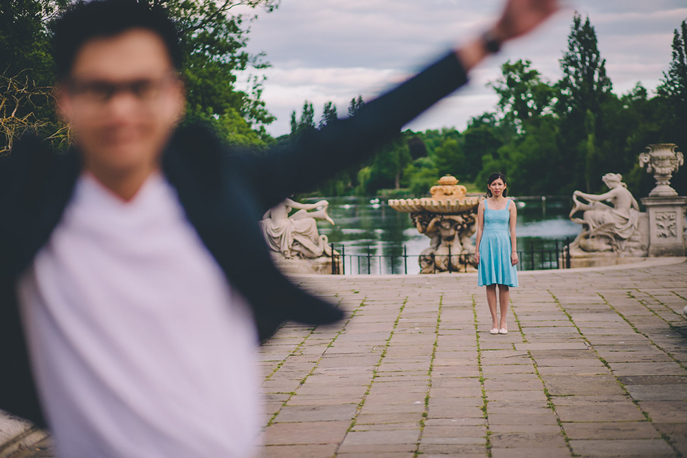 engagement shoot running towards camera