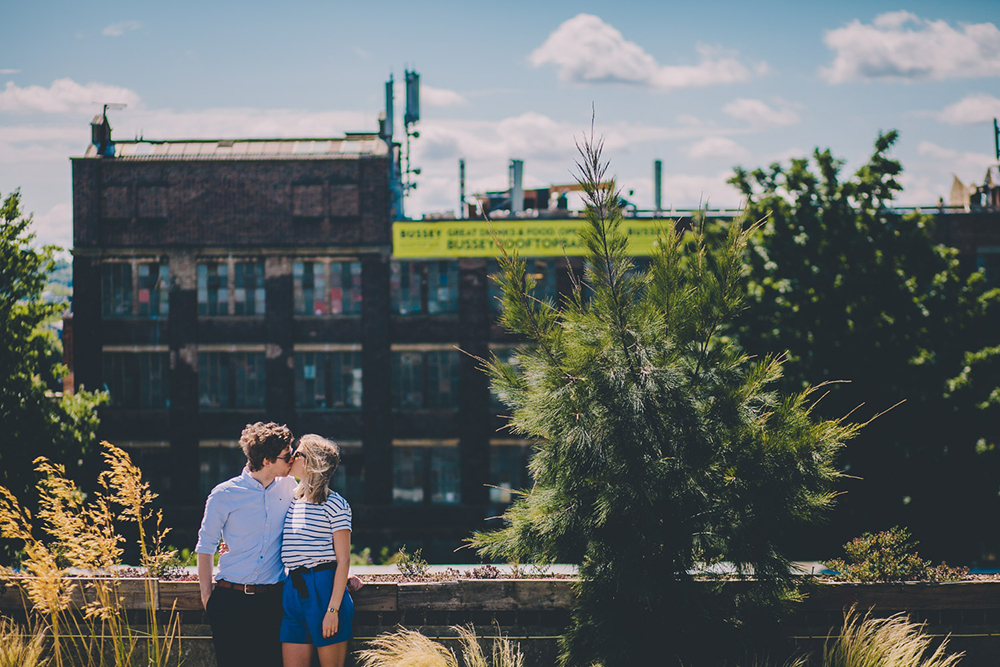 engagement shoot couple on rooftop