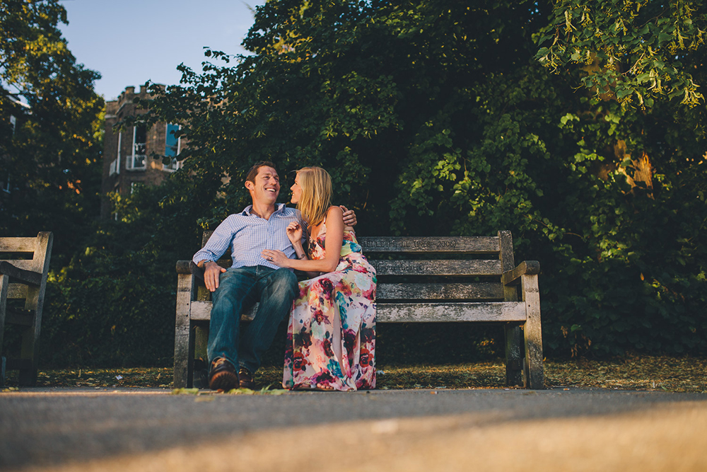engagement shoot couple on bench