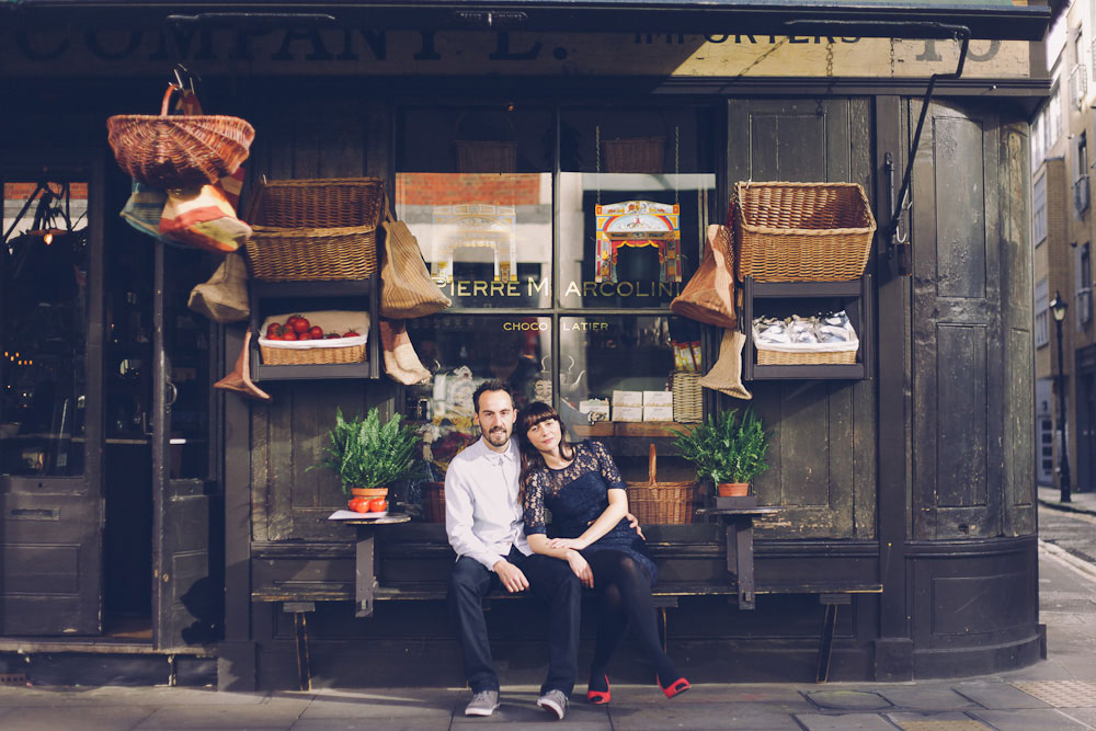 engagement shoot couple outside shop