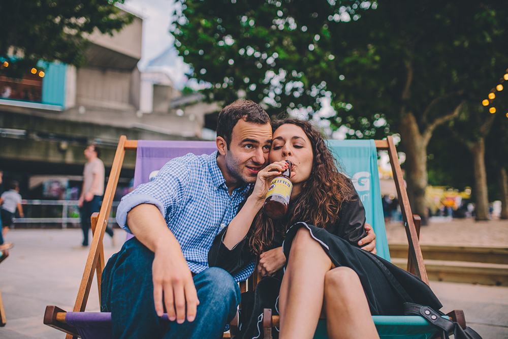 engagement shoot couple in deckchairs