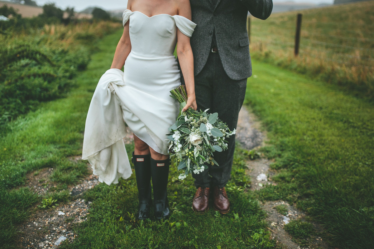 Natural wedding photography muddy wellies portrait