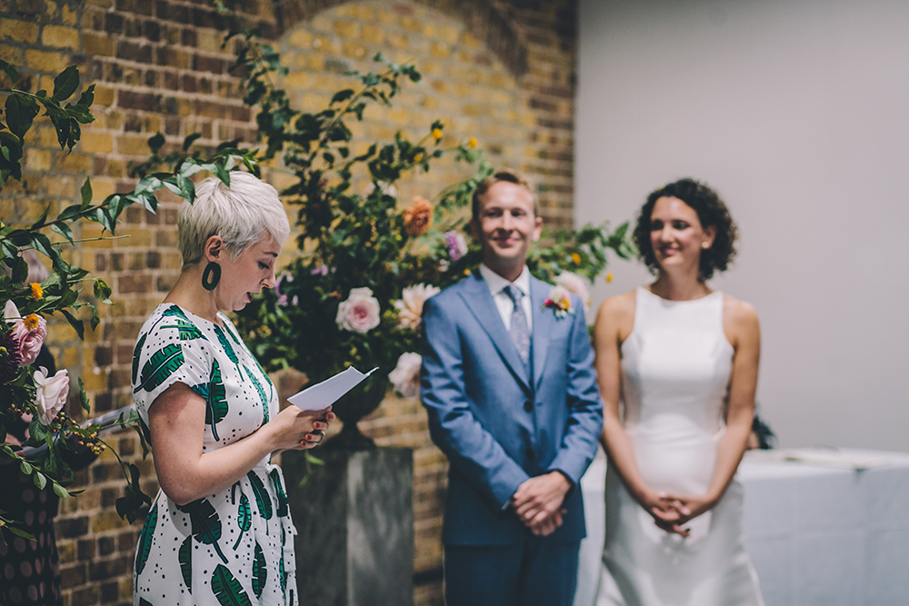 ceremony portrait trinity buoy wharf urban wedding
