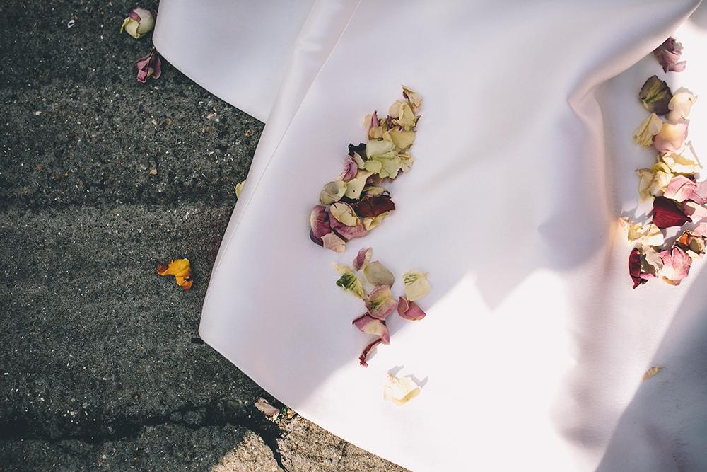dress and confetti trinity buoy wharf urban wedding