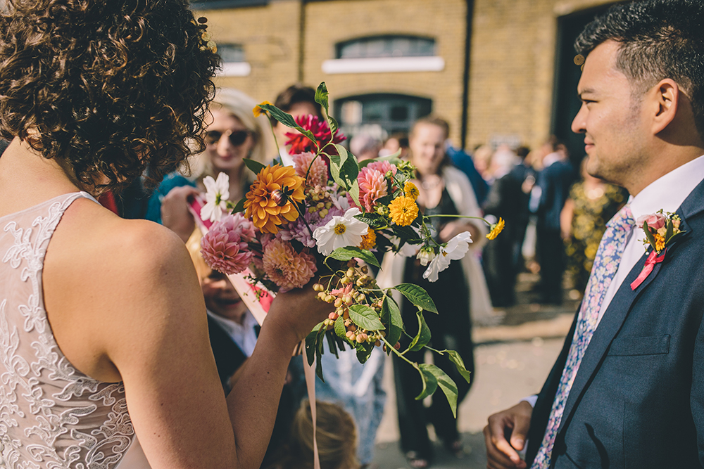 bride and bouquet trinity buoy wharf urban wedding