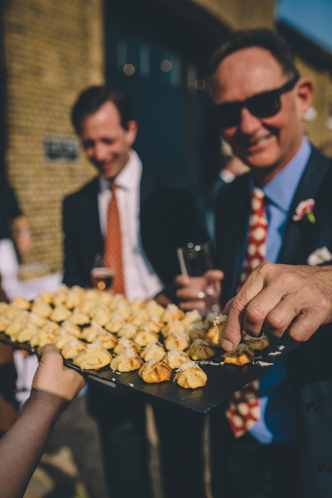 canapés trinity buoy wharf urban wedding