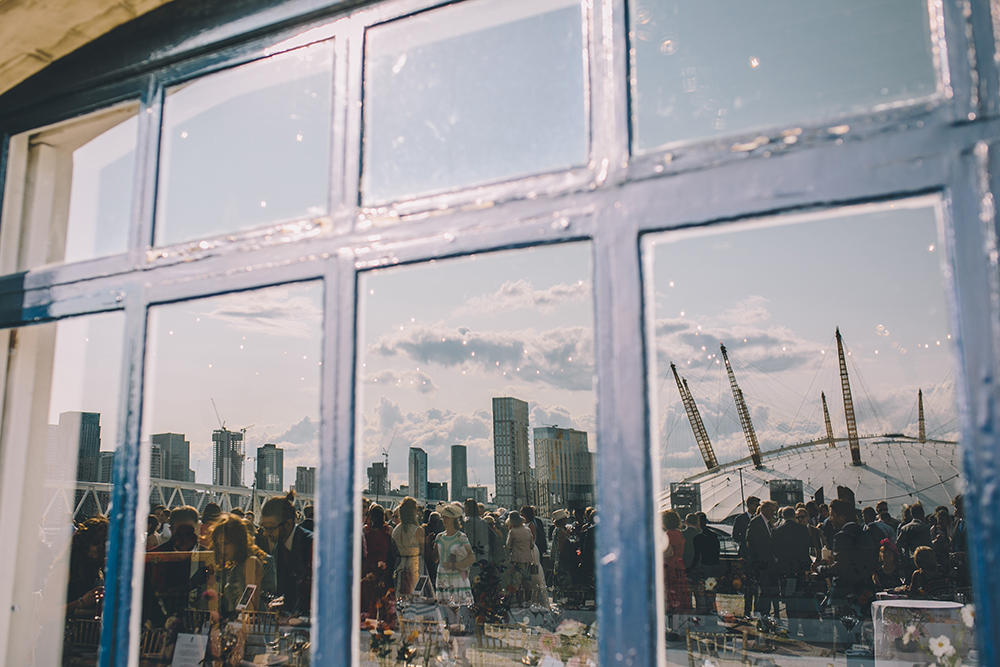 landscape in windows trinity buoy wharf urban wedding