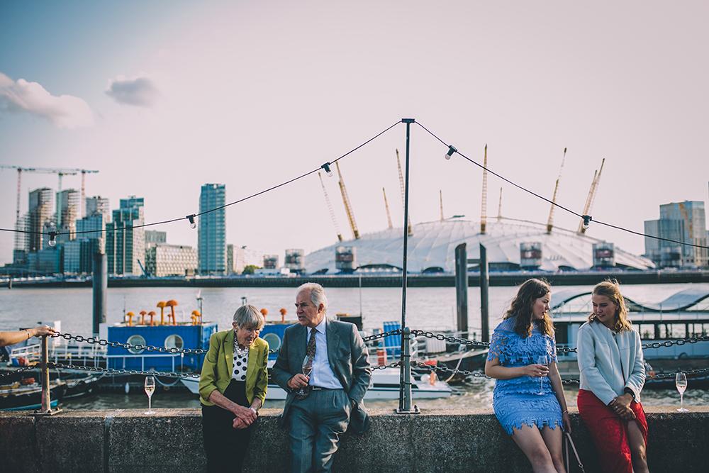 guests trinity buoy wharf urban wedding