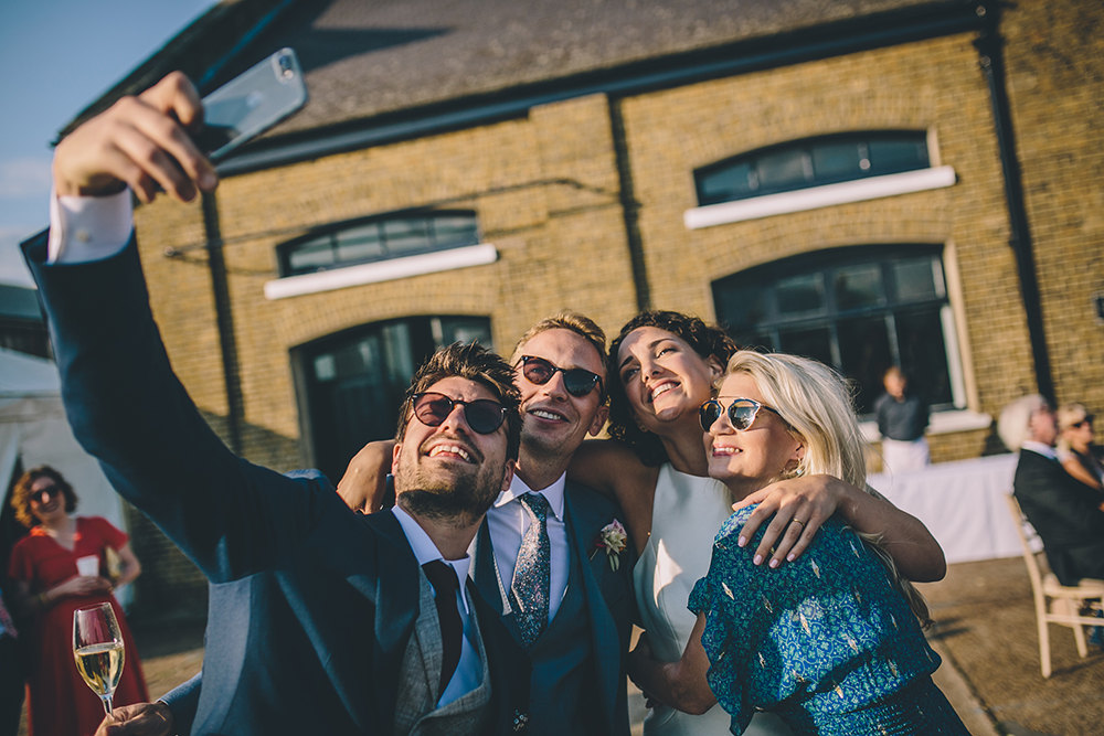 guests selfie trinity buoy wharf urban wedding