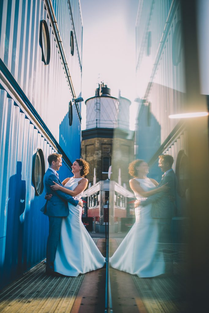portrait trinity buoy wharf urban wedding