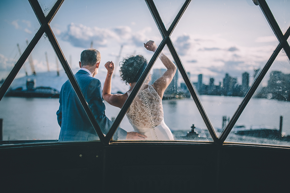 portrait dancing trinity buoy wharf urban wedding