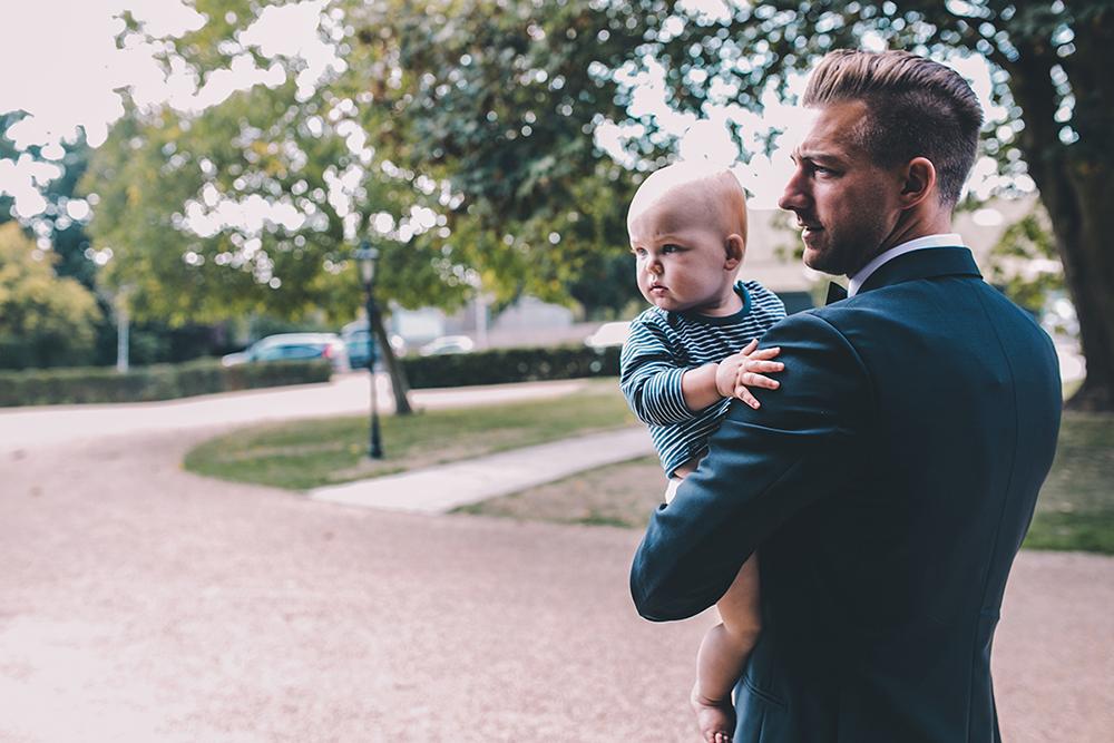 groom and son Micklefield Hall outdoor wedding