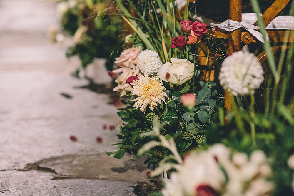 aisle flowers trinity buoy wharf indian wedding