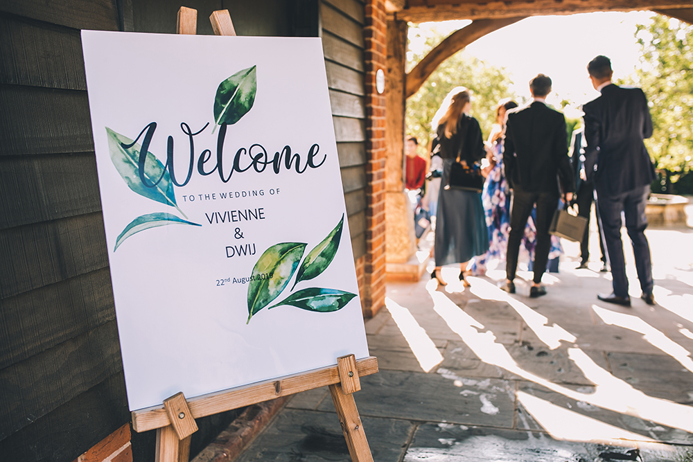 welcome board micklefield hall multicultural wedding