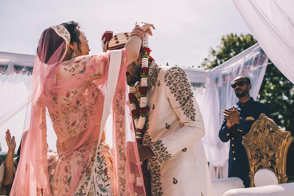 floral garlands micklefield hall multicultural wedding