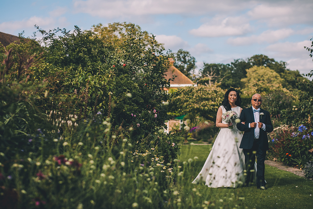 bride and father micklefield hall multicultural wedding
