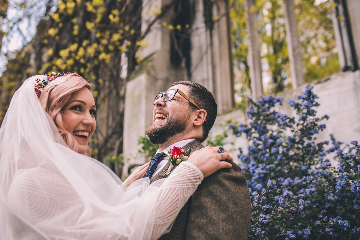 couple laughing wedding photography