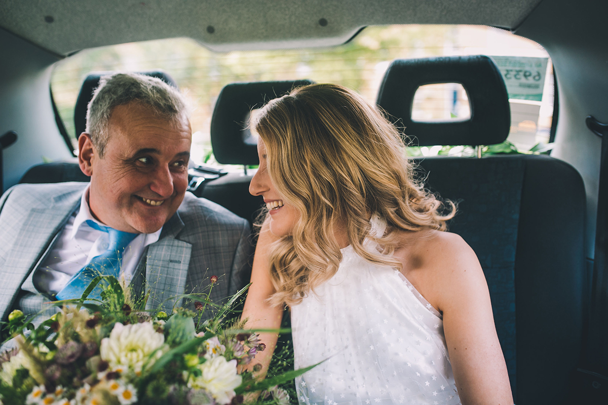 bride and father in car wedding photography