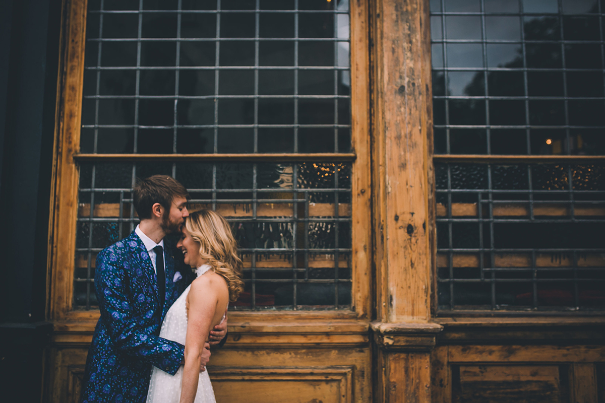 couple portrait outside pub wedding photography