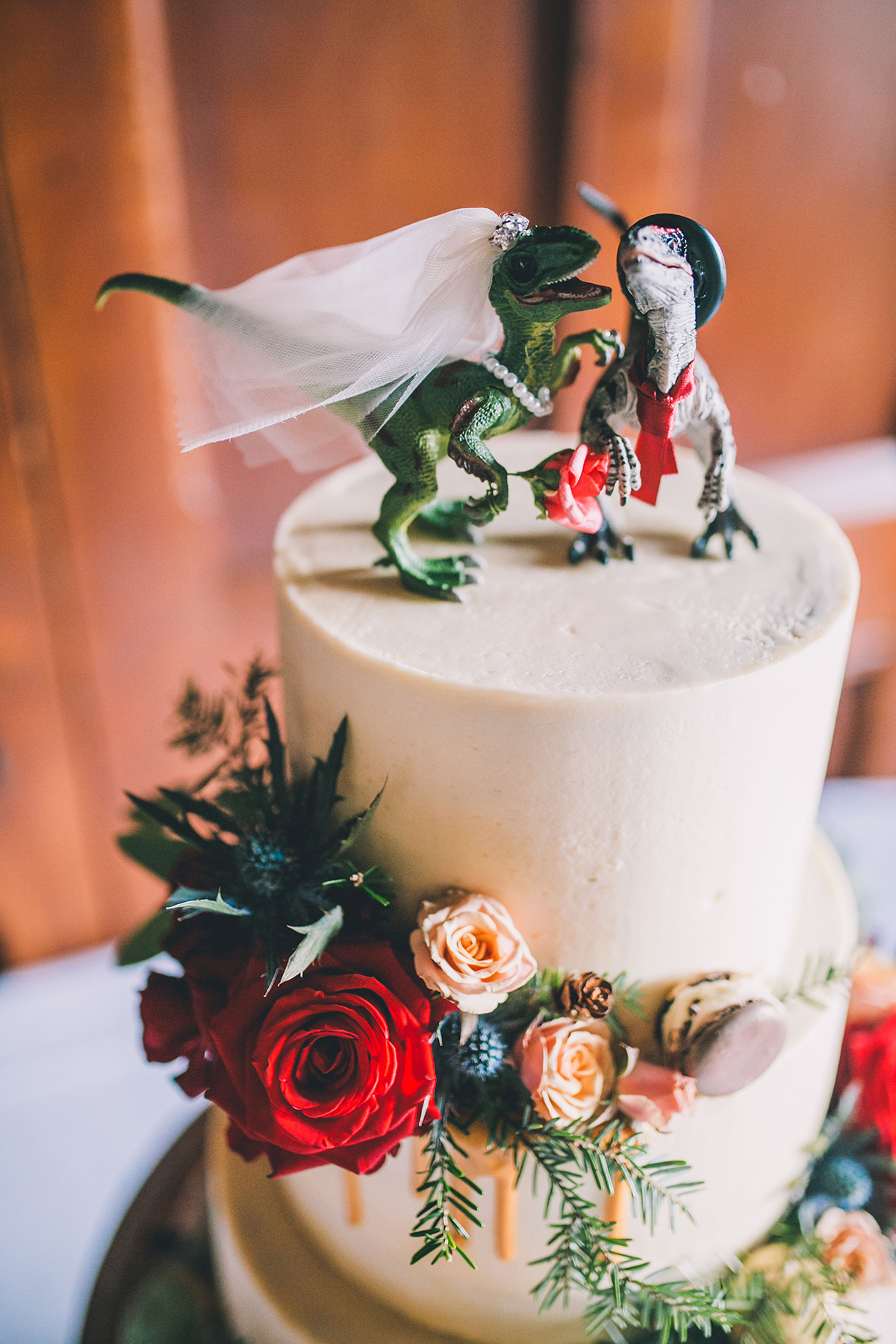 dinosaur wedding cake wedding photography