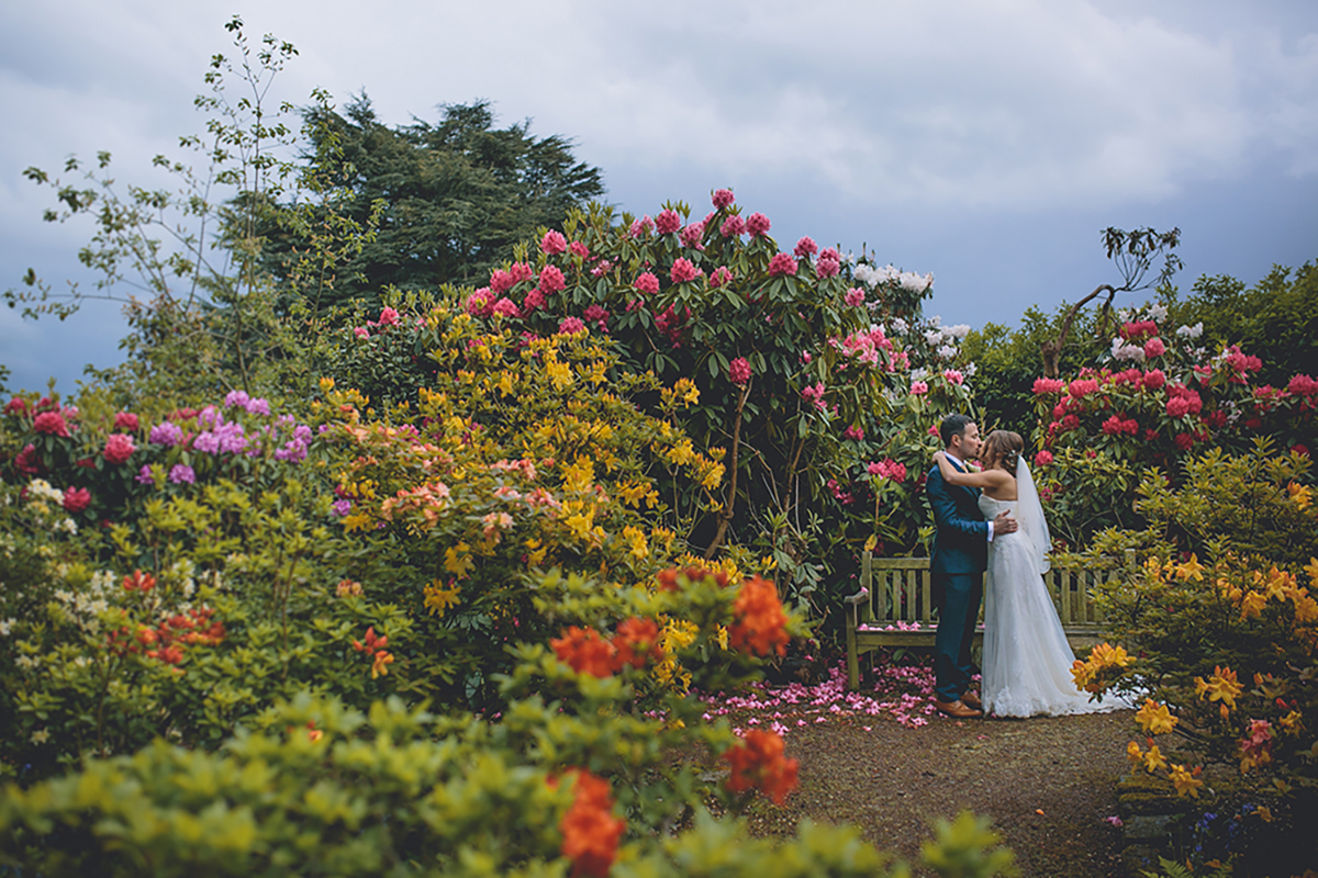 couple portrait in garden wedding photography
