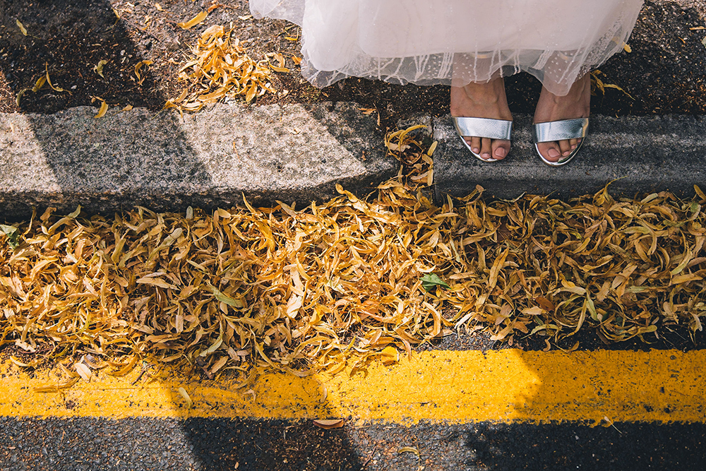 brides shoes and leaves