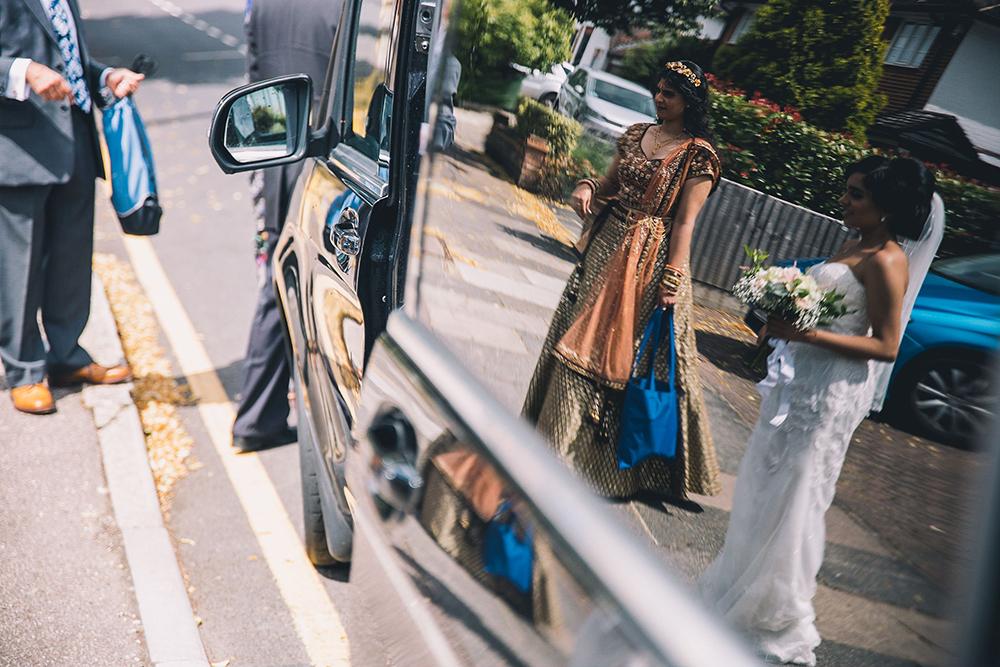 bride getting into taxi
